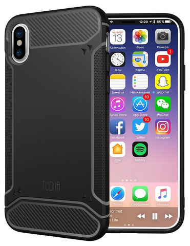 TUDIA Carbon Fiber Design Lightweight [TAMM] TPU Bumper Shock Absorption Cover for Apple iPhone X / XS