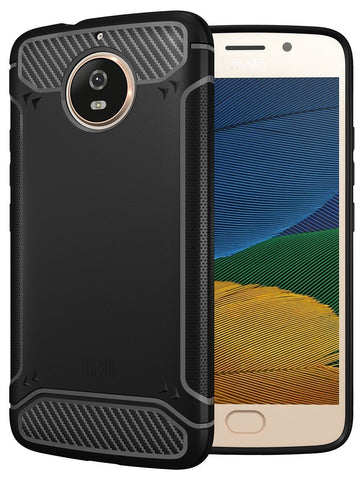 TUDIA Carbon Fiber Design Lightweight [TAMM] TPU Bumper Shock Absorption Cover for Motorola Moto G5S