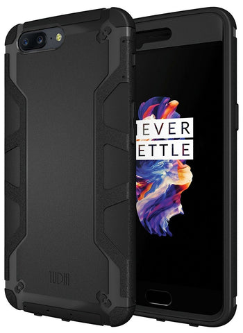 TUDIA OMNIX [Heavy Duty] Hybrid [Full-body] Case with Front Cover and Built-in Screen Protector / Impact Resistant Bumpers for OnePlus 5