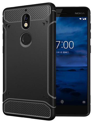 TUDIA Carbon Fiber Design Lightweight [TAMM] TPU Bumper Shock Absorption Cover for Nokia 7
