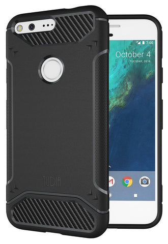 TUDIA Ultra Slim Carbon Fiber Design Lightweight [TAMM] TPU Bumper Shock Absorption Case for Google Pixel