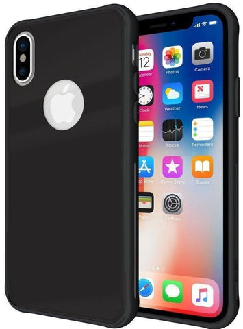 TUDIA [Ceramic Feel] Lightweight [GLOST] TPU Bumper Shock Absorption Cover Featuring [Tempered Glass Back Panel] for Apple iPhone X / XS
