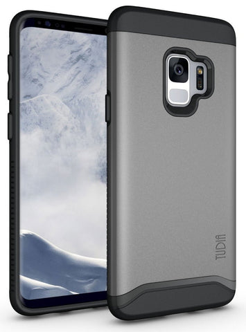 TUDIA Slim-Fit HEAVY DUTY [MERGE] EXTREME Protection / Rugged but Slim Dual Layer Case for Samsung Galaxy S9