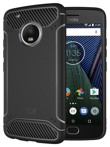 TUDIA Ultra Slim Carbon Fiber Design Lightweight [TAMM] TPU Bumper Shock Absorption Case for Motorola Moto G5 Plus