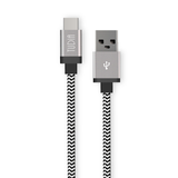 3.3ft Braided Nylon USB-C to USB Type A Charging Cord (Midnight Gray)