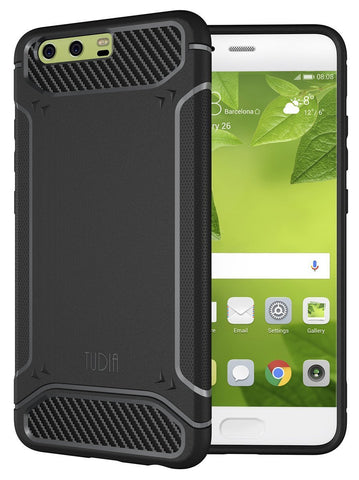 TUDIA Ultra Slim Carbon Fiber Design Lightweight [TAMM] TPU Bumper Shock Absorption Cover for Huawei P10