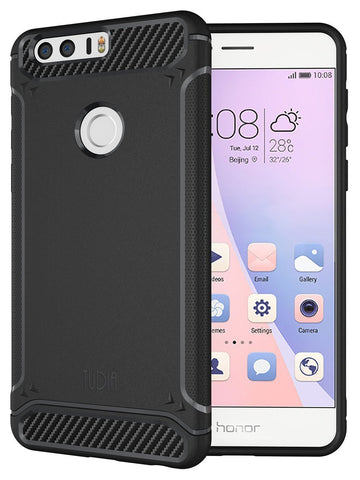 TUDIA Ultra Slim Carbon Fiber Design Lightweight [TAMM] TPU Bumper Shock Absorption Case for Huawei Honor 8