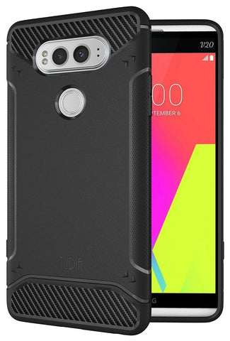 TUDIA Ultra Slim Carbon Fiber Design Lightweight [TAMM] TPU Bumper Shock Absorption Case for LG V20