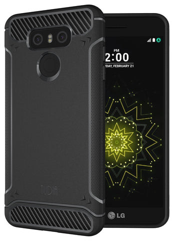 TUDIA Ultra Slim Carbon Fiber Design Lightweight [TAMM] TPU Bumper Shock Absorption Case for LG G6