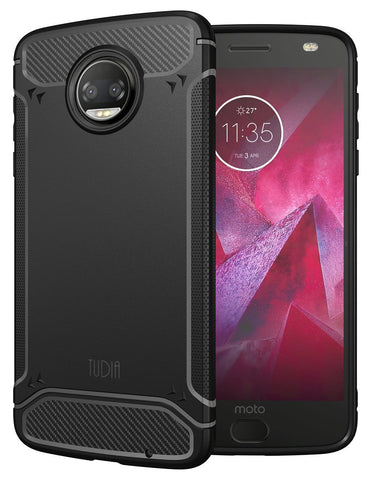 TUDIA Carbon Fiber Design Lightweight [TAMM] TPU Bumper Shock Absorption Cover for Motorola Moto Z Force (2nd Generation), Moto Z2 Force Droid Edition
