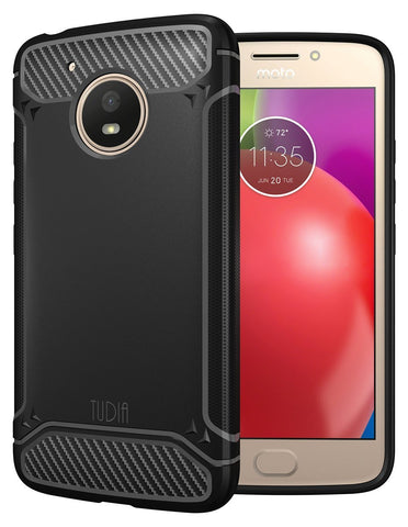 TUDIA Carbon Fiber Design Lightweight [TAMM] TPU Bumper Shock Absorption Cover for Motorola Moto E (4th Generation)