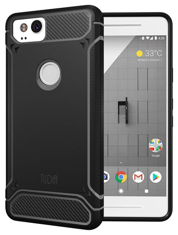 TUDIA Carbon Fiber Design Lightweight [TAMM] TPU Bumper Shock Absorption Cover for Google Pixel 2 (2017)