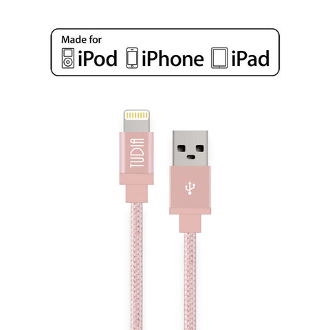 3ft Braided Nylon USB Cable with Lightning Connector (Rose Gold)