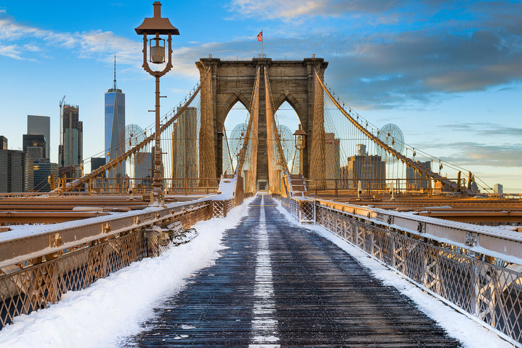 A snowy Brooklyn Bridge in New York by Kirit Prajapati