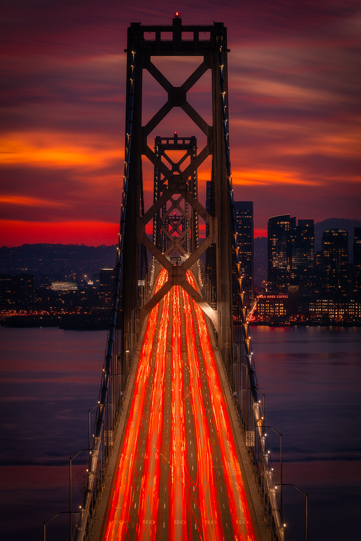 Bay Bridge Sunset Photograph
