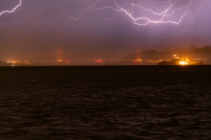 Lightning over the Golden Gate Bridge