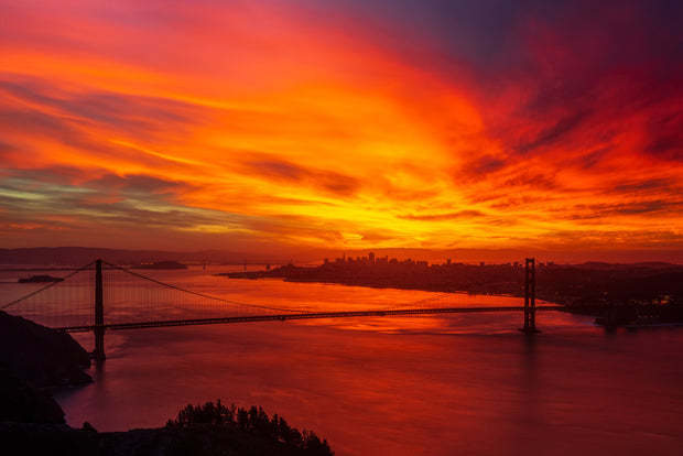 Red Sky Sunrise Golden Gate Bridge