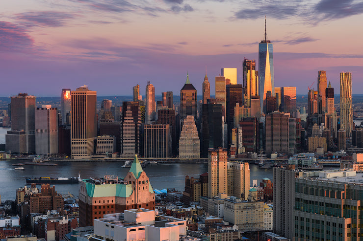 Downtown New York City from Brooklyn at sunset by Kirit Prjapati