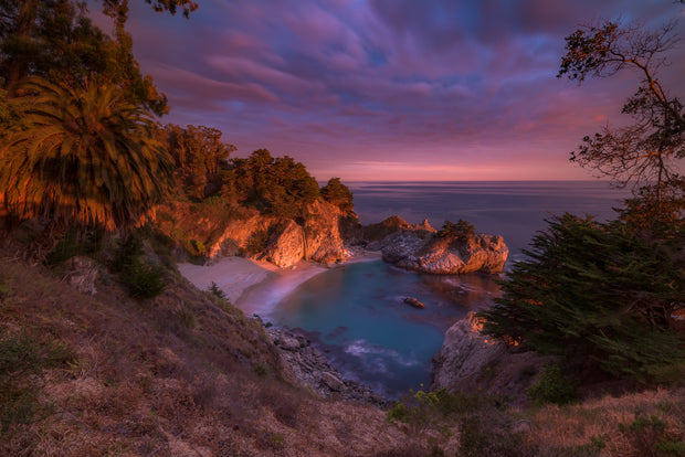 Big Sur California Mcway Falls Sunset