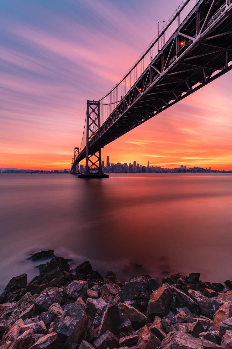 San Francisco skyline Epic sunset under the bay bridge Version 2