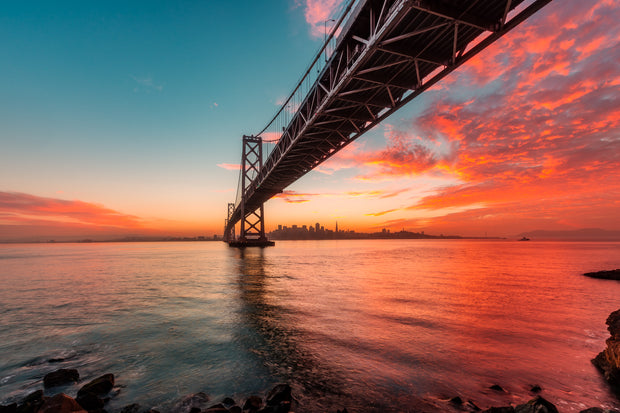 Under the Bay Bridge  epic skyline Sunset