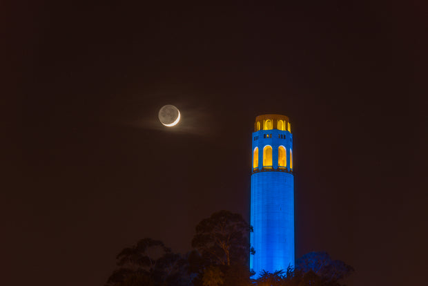 Coit Tower Crescent moon