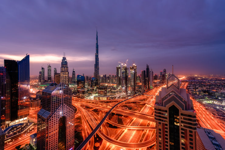 Dubai sunrise rooftop