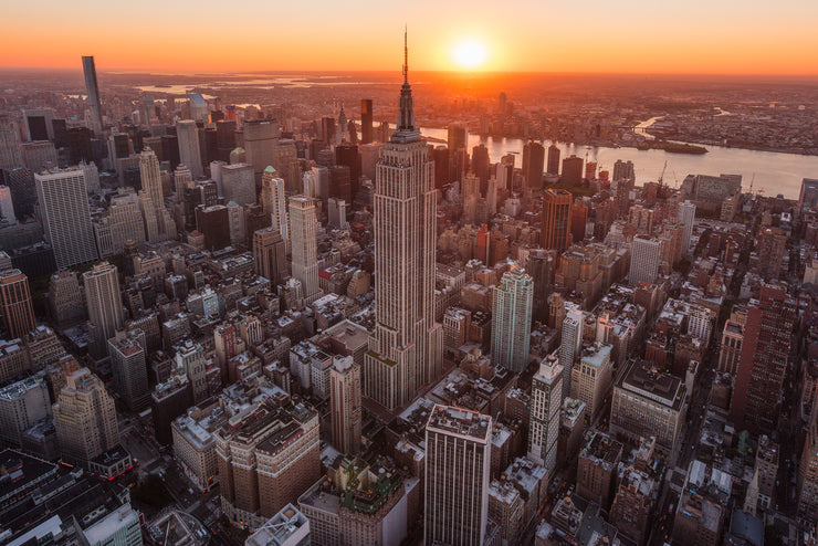 New York City Empire State building sunrise from helicopter