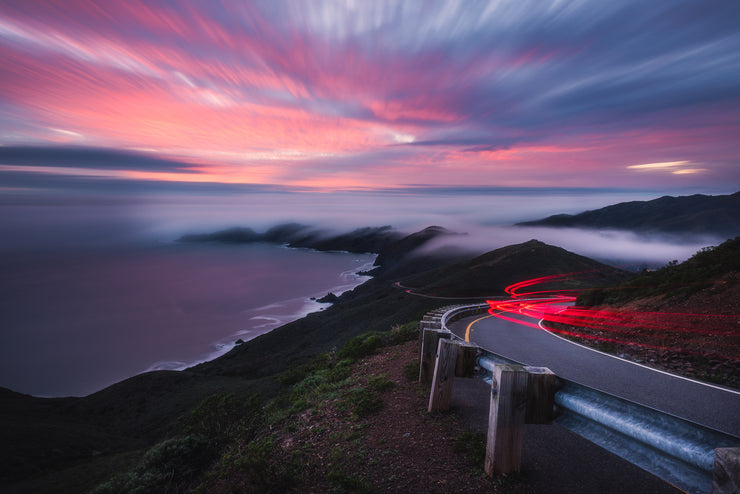 Marin headlands low fog Long exposure Sunset