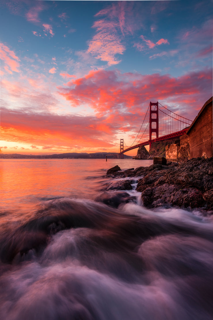 Epic sunrise Golden gate Bridge Fort Baker