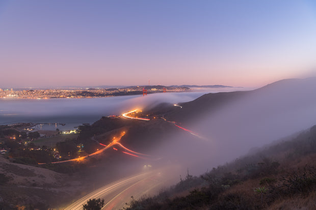 Golden gate Bridge Moonlight fog