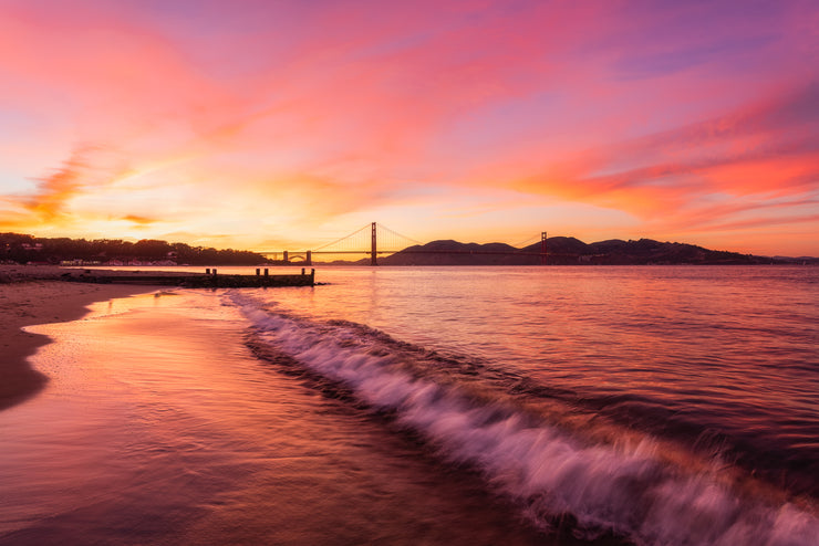 Golden gate Bridge Sunset photograph .