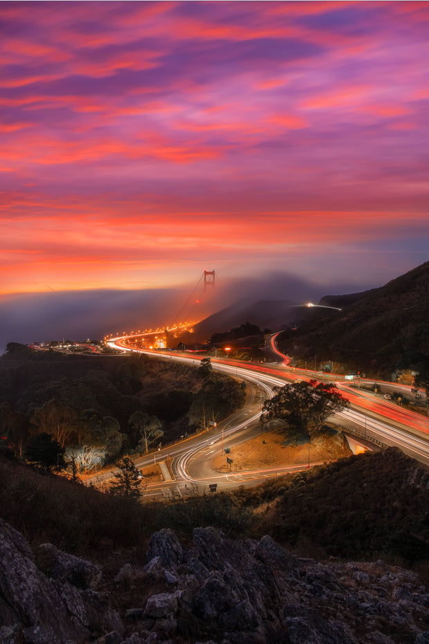 Sunrise Golden gate Bridge from Marin headlands photograph.