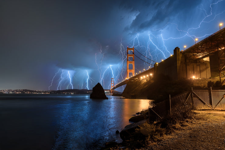Lightening Strikes Golden Gate Bridge Photograph