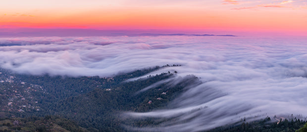 Mt Tamalpais fog pano version 2 sunset