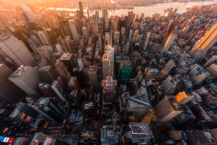 New York Sunrise Epic light from the helicopter