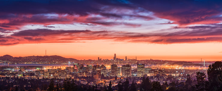 Oakland San Francisco epic sunset pano