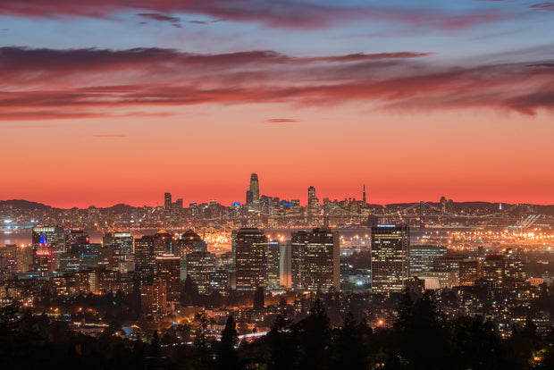 Oakland and San Francisco Skyline epic sunset
