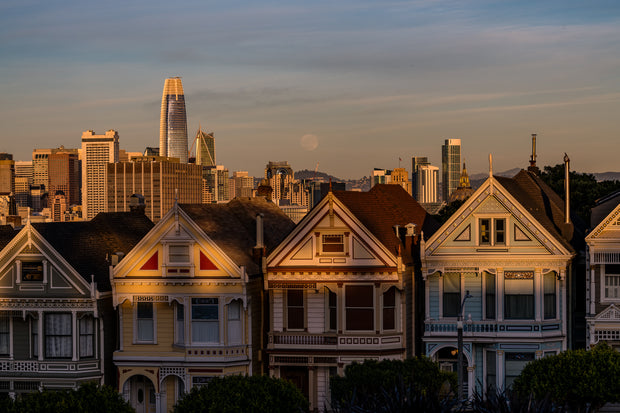 San Francisco painted ladies full moon