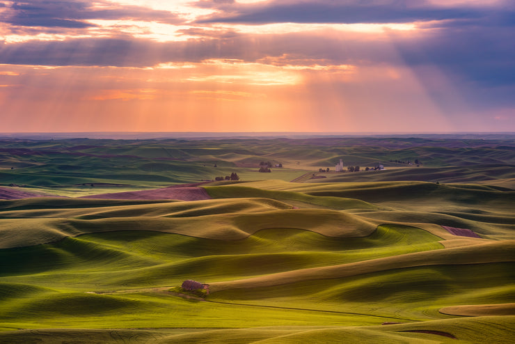 The Palouse rays of light sunset