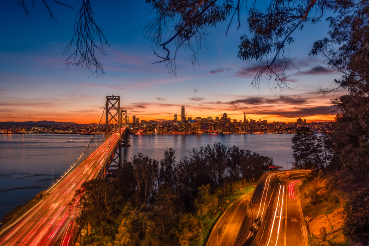 Gorgeous San Francisco skyline sunset above the bay bridge