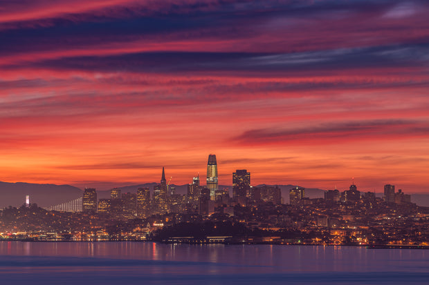 Gorgeous morning sunrise San Francisco skyline