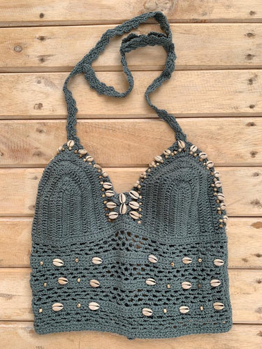 TOP CROCHET Y SHELL GRIS