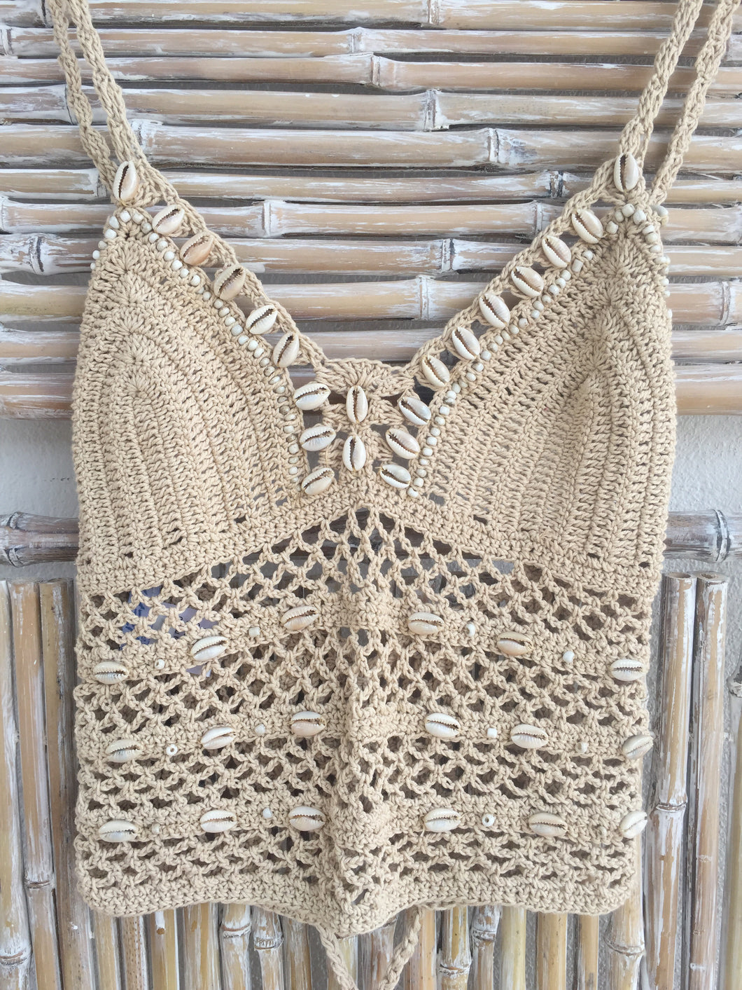 TOP CROCHET Y SHELL BEIGE