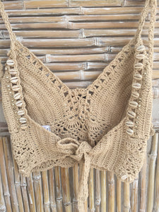 TOP FLOWER CROCHET Y SHELL BEIGE