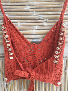 TOP FLOWER CROCHET Y SHELL NARANJA