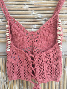 TOP CROCHET Y SHELL ROSA