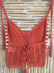 TOP CROCHET Y SHELL NARANJA