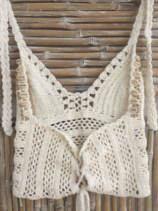 TOP CROCHET Y SHELL CREMA