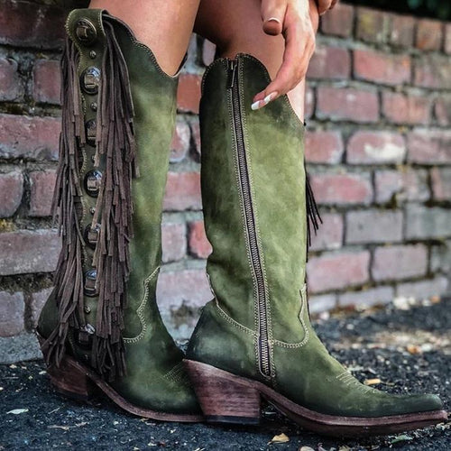Women Tassel Cowgirl Western Slip-On Boots